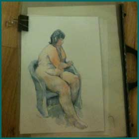 Life art model in pastels